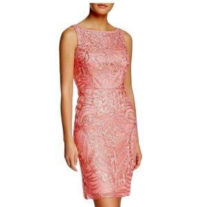 Sue Wong Ribbon Mesh Dress in Coral